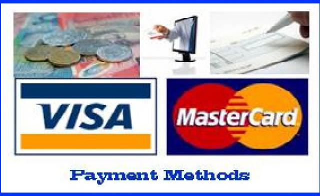 Payment. cash, bank transfer, cheque, credit/debit cards